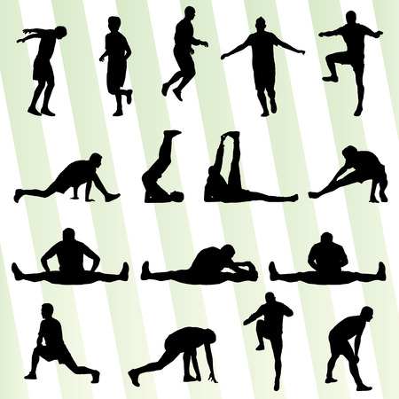 Man stretching exercise warming up vector background for poster Illustration