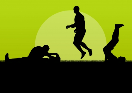 warming up: Man stretching exercise warming up vector background for poster Illustration