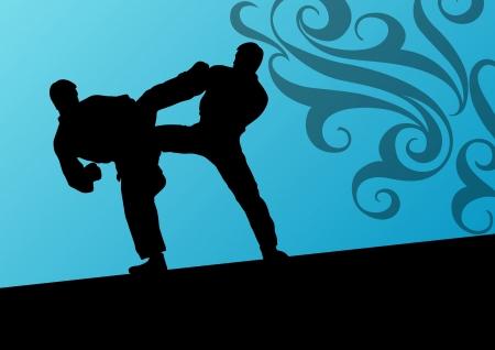 tae: Tae kwon do activo luchadores de artes marciales de combate de lucha y patadas deporte siluetas ilustraci�n vectorial Vectores