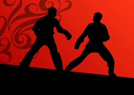 Active tae kwon do martial arts fighters combat fighting and kicking sport silhouettes illustration background vector Stock Vector - 23814234