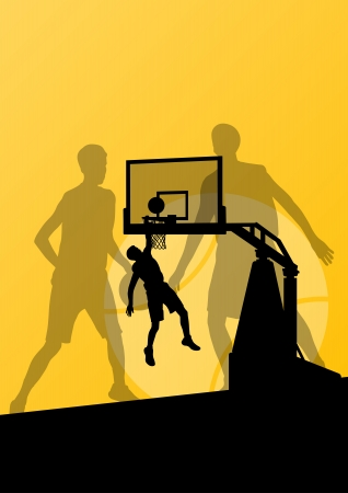 Basketball players young active sport silhouettes vector background illustration for poster Vector