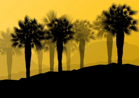 dune: Palm tree silhouettes wild nature landscape background illustration vector for poster