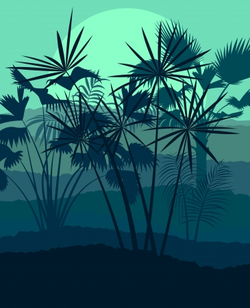 Exotic forest jungle leaves, grass and herbs wild untamed nature landscape illustration background vector Stock Vector - 23814266