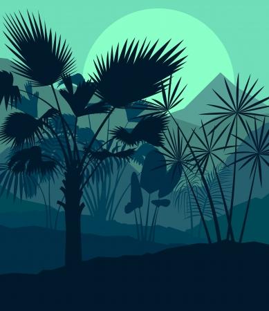 untamed: Hojas ex�ticas forestales selva, pastos y hierbas silvestres indomable naturaleza, paisaje, ilustraci�n de fondo vector Vectores