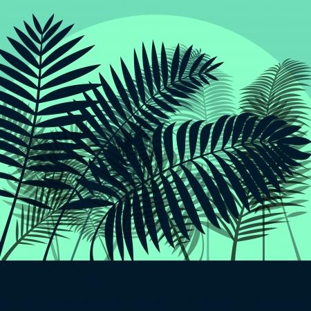 untamed: Exotic forest jungle leaves, grass and herbs wild untamed nature landscape illustration background vector Illustration