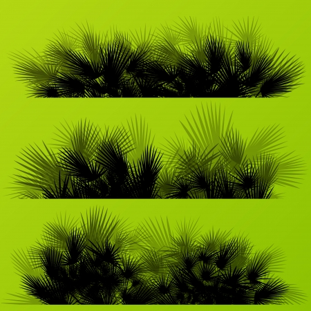 untamed: Tropical exotic jungle grass and plants detailed silhouettes landscape illustration collection background vector Illustration