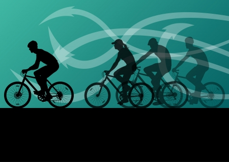active arrow: Active men cyclists bicycle riders in abstract arrow line landscape background illustration
