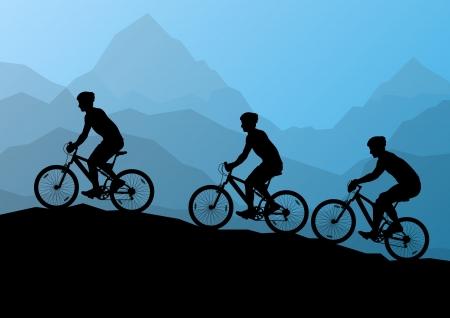 Actieve mannen fietsers fietsers in wilde bergen, natuur, landschap achtergrond illustratie vector Stock Illustratie