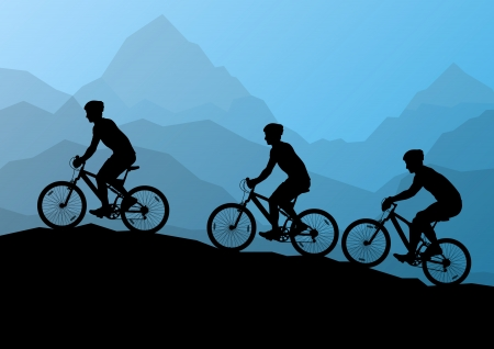 Active men cyclists bicycle riders in wild mountain nature landscape background illustration vector