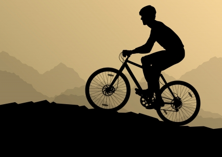 cyclist silhouette: Active cyclists bicycle riders in wild mountain nature landscape background illustration vector for poster