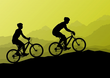 family hiking: Active cyclists bicycle riders in wild mountain nature landscape background illustration vector for poster