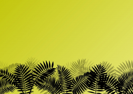 untamed: Exotic jungle forest plants, leafs and grass detailed silhouette landscape illustration background vector for poster