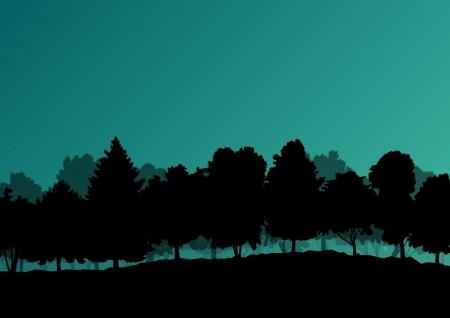 zypresse: Waldb�ume Silhouetten wilden Naturlandschaft detaillierte Illustration Hintergrund Illustration