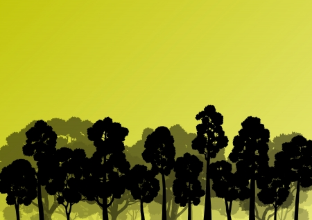 oak trees: Forest trees silhouettes natural wild landscape detailed illustration background Illustration