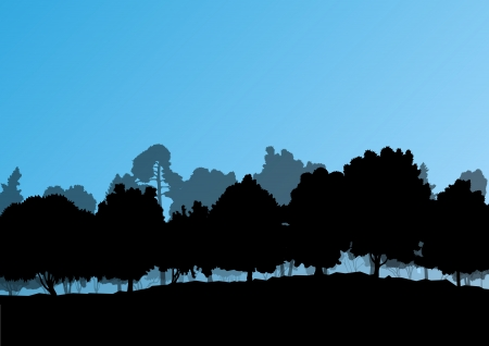 Forest trees silhouettes natural wild landscape detailed illustration background Vector
