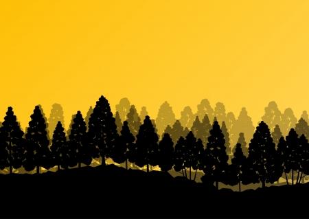 Forest trees silhouettes natural wild landscape detailed illustration background Ilustração