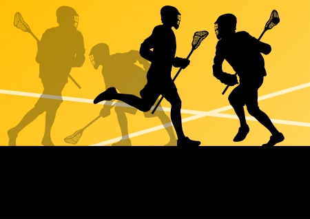 Lacrosse players active sports silhouettes background illustration Illustration