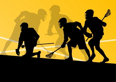 Lacrosse players active sports silhouettes background illustration Stock Vector - 24474738