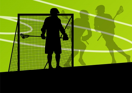 Lacrosse players active sports silhouettes background illustration Stock Vector - 24474740