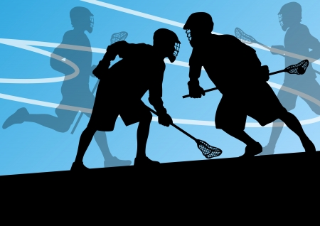 Lacrosse players active sports silhouettes background illustration Stock Vector - 24474741