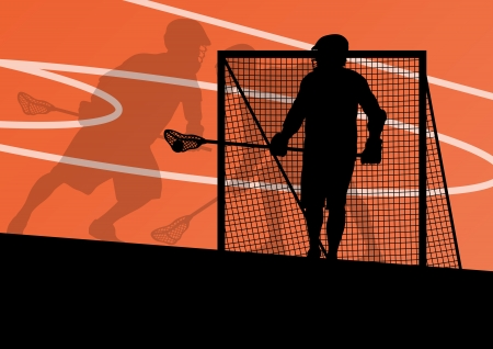Lacrosse players active sports silhouettes background illustration Stock Vector - 24474742