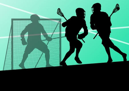 lacrosse: Lacrosse players active sports silhouettes background illustration Illustration