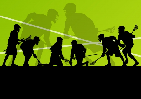 Lacrosse players active sports silhouettes background illustration Çizim