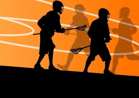 Lacrosse players active sports silhouettes background illustration Stock Vector - 24474751