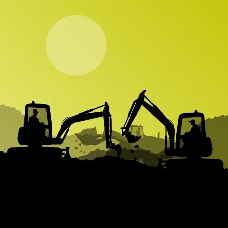 idraulico: Caricatori escavatori, macchine idrauliche, trattori e operai che scavano a industriale cantiere sfondo illustrazione vettoriale