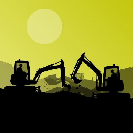 Excavator loaders, hydraulic machines, tractors and workers digging at industrial construction site vector background illustration Vector