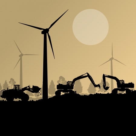 wind farm: Wind electricity generators with excavator loaders in countryside field construction site landscape illustration background vector