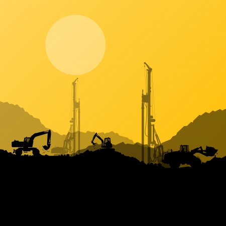 excavator: Excavator loaders, hydraulic machines, tractors and workers digging at industrial construction site vector background illustration