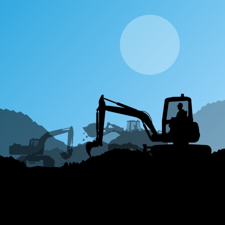 mining machinery: Excavator loaders, hydraulic machines, tractors and workers digging at industrial construction site vector background illustration