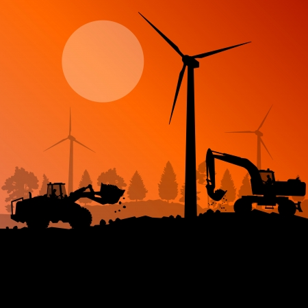 global village: Wind electricity generators with excavator loaders in countryside field construction site landscape illustration background vector
