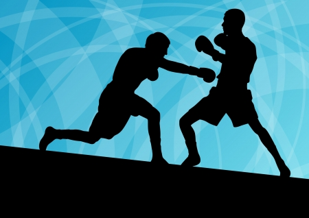 sport equipment: Boxing active young men box sport silhouettes vector abstract background illustration Illustration