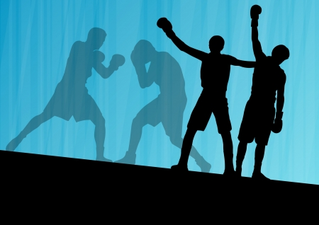 endurance: Boxing active young men box sport silhouettes vector abstract background illustration Illustration