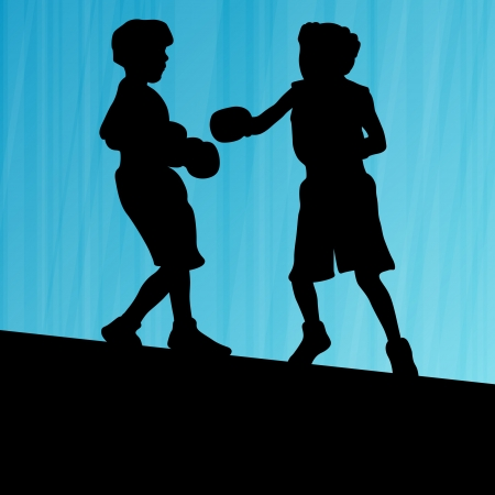 young children: Boxing active young children box sport silhouettes vector abstract background