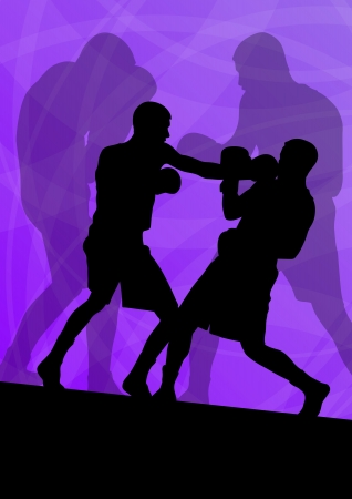 boxing ring: Boxing active young men box sport silhouettes vector abstract background illustration Illustration