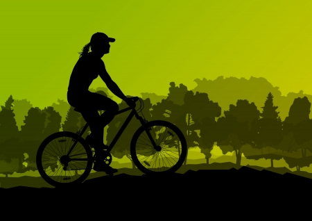 family hiking: Active cyclists bicycle riders in wild forest nature landscape background illustration vector Illustration