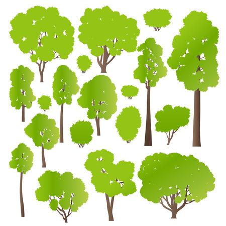 포스터 나무와 관목 설정 생태 벡터 배경 개념