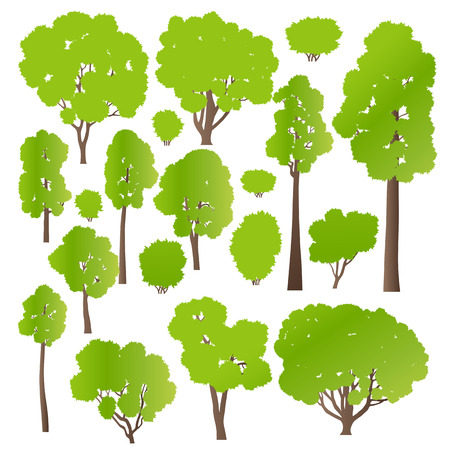 Tree and bushes set ecology vector background concept for poster