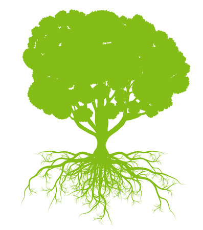 Tree with roots background ecology vector concept card for poster
