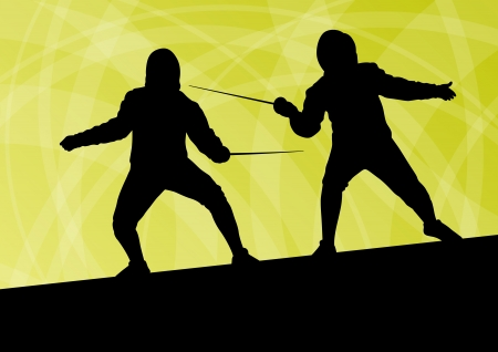duel: Sword fighters active young men fencing sport silhouettes vector abstract background illustration