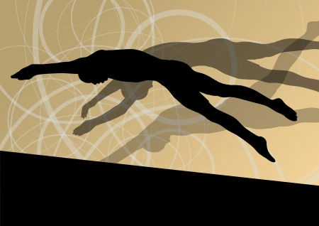swimmer: Active young swimmers diving and swimming in water sport pool silhouettes vector abstract background illustration