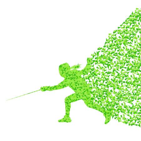mujer deportista: Mujer Esgrima silueta deporte vector del concepto del fondo hecha de fragmentos para el cartel