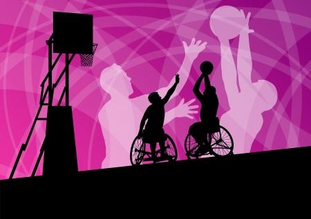 leg muscle: Jugadores activos discapacitados j�venes de baloncesto de un concepto de deporte silueta ilustraci�n vectorial de fondo de silla de ruedas se detalla
