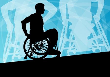 無効にするアクティブな車椅子詳細スポーツ コンセプト シルエット イラスト背景ベクトルに若い男性