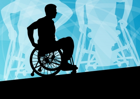 disable: Active disabled young men on a wheelchair detailed sport concept silhouette illustration background vector