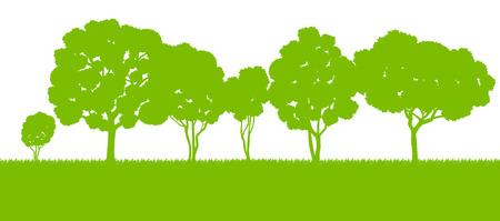 zypresse: Waldb�ume, Landschaft, Abbildung Silhouetten Hintergrund Vektor-Karte Vorlage