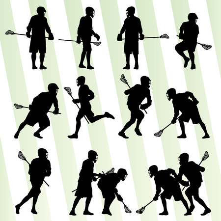 Lacrosse player in action vector background set for poster Çizim